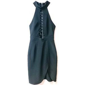 Angel Biba Black High Neck Lace Up Dress